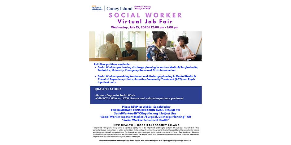 Social Worker - Virtual Job Fair